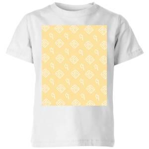 Floppy Disc Pattern Yellow Kids' T-Shirt - White