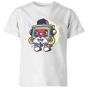 Cassette Tape Love Character Kids' T-Shirt - White