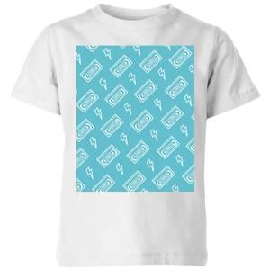 VHS Tape Pattern Blue Kids' T-Shirt - White