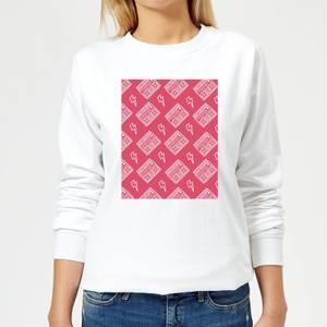Boombox Pattern Pink Women's Sweatshirt - White