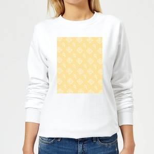 Floppy Disc Pattern Yellow Women's Sweatshirt - White