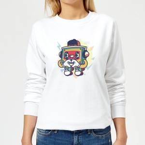 Cassette Tape Love Character Women's Sweatshirt - White
