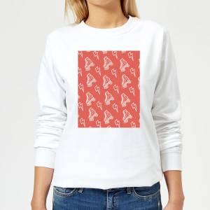 Roller Skate Pattern Red Women's Sweatshirt - White