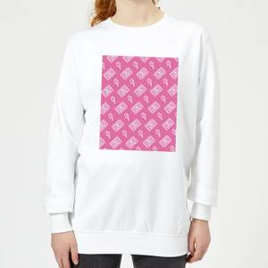 Cassette Tape Pattern Pink Women's Sweatshirt - White