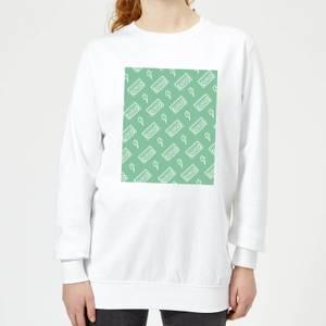 VHS Tape Pattern Green Women's Sweatshirt - White