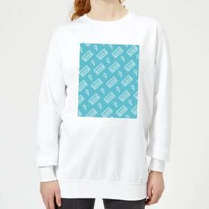 VHS Tape Pattern Blue Women's Sweatshirt - White