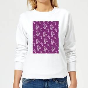 Roller Skate Pattern Purple Women's Sweatshirt - White