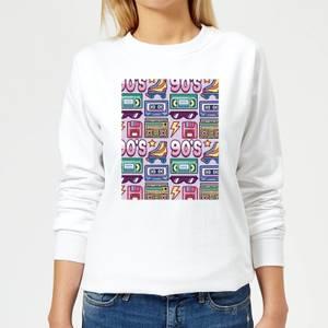 90's Product Tiled Pattern Women's Sweatshirt - White