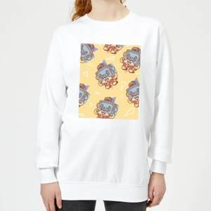 Cassette Tape Love Pattern Women's Sweatshirt - White