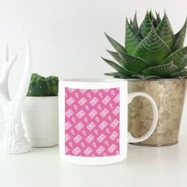 Cassette Tape Pattern Pink Mug
