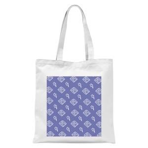 Floppy Disc Pattern Purple Tote Bag - White