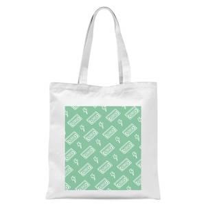 VHS Tape Pattern Green Tote Bag - White
