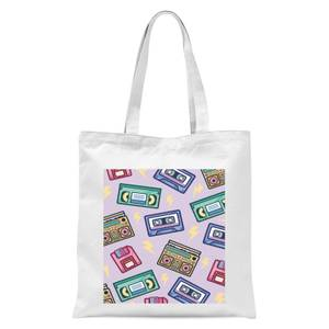 90's Product Scattered Pattern Tote Bag - White