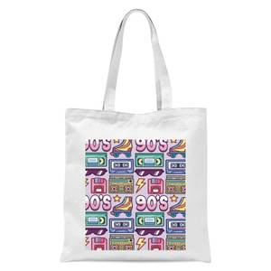 90's Product Tiled Pattern Tote Bag - White