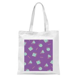 90's Circle Square Triangle Pattern Tote Bag - White