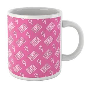 Cassette Tape Pattern Pink White Mug Mug