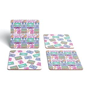 90's Products Pink Coaster Square Coaster Set
