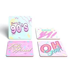 90's Slogans Coaster Set Square Coaster Set