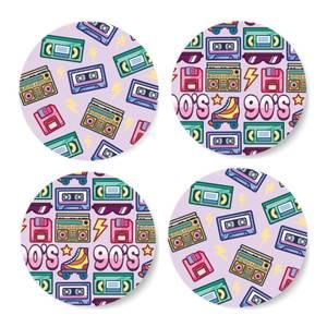 90's Product Pink Coaster Circle Coaster Set
