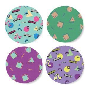 90's Funky Pattern Coaster Circle Coaster Set