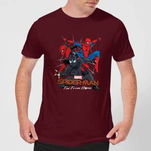 Spider-Man Far From Home Multi Costume Men's T-Shirt - Burgundy