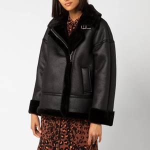 Whistles Women's Ultimate Faux Fur Biker Jacket - Black