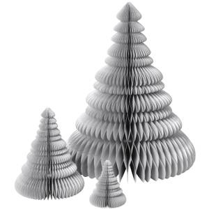 Broste Copenhagen Paper Christmas Tree Decoration (Set of 3) - Silver