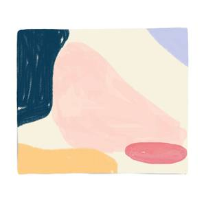 Pink, Blue And Yellow Abstract Pattern Fleece Blanket
