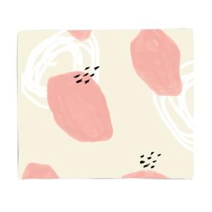 Pink And White Blobs Pattern Fleece Blanket