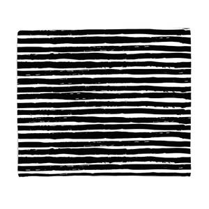 Black And White Horizontal Stripes Fleece Blanket