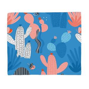 Blue Cactus And Butterfly Fleece Blanket