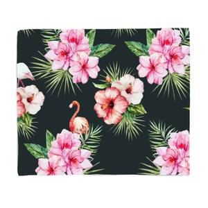 Flamingo And Tropical Flowers Fleece Blanket