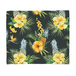 Pineapple And Tropical Flowers Fleece Blanket