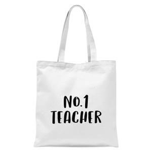 No.1 Teacher Tote Bag - White