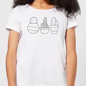 Hand Drawn Cacti Women's T-Shirt - White