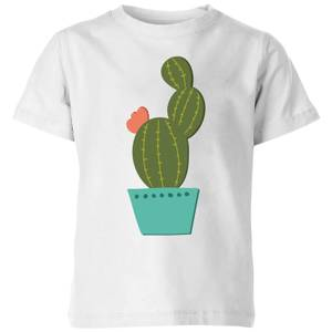 Single Potted Cactus Kids' T-Shirt - White