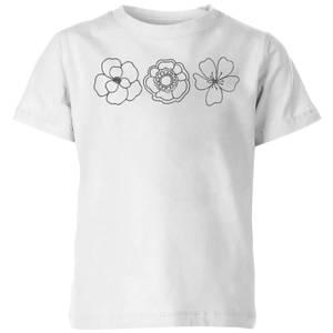 Hand Drawn Flowers Kids' T-Shirt - White