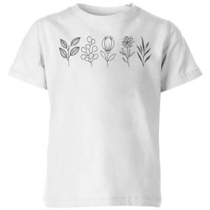 Hand Drawn Leaves Kids' T-Shirt - White