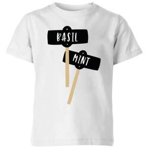 Basil And Mint Kids' T-Shirt - White