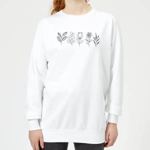 Hand Drawn Leaves Women's Sweatshirt - White