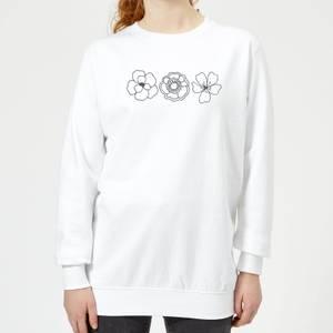 Hand Drawn Flowers Women's Sweatshirt - White