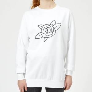 Rose Women's Sweatshirt - White