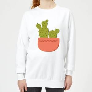 Two Potted Cacti Women's Sweatshirt - White