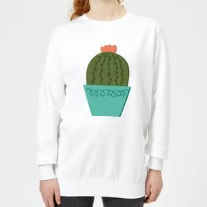 Cactus With Flower Women's Sweatshirt - White