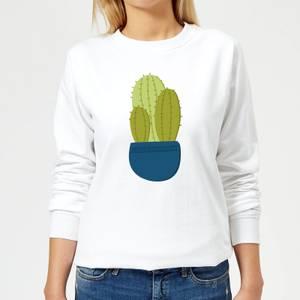 Three Potted Cacti Women's Sweatshirt - White
