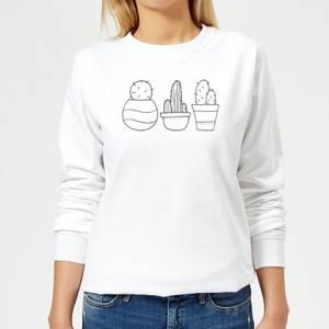Hand Drawn Cacti Women's Sweatshirt - White