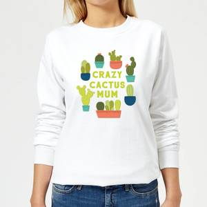 Crazy Cactus Mum Women's Sweatshirt - White
