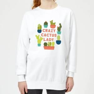 Crazy Cactus Lady Women's Sweatshirt - White