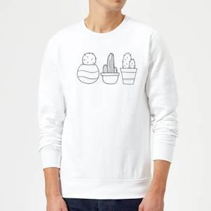 Hand Drawn Cacti Sweatshirt - White