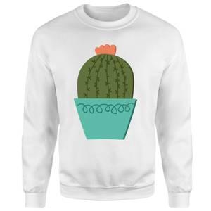 Cactus With Flower Sweatshirt - White